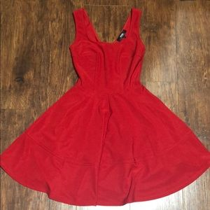 Red dress with flare skirt